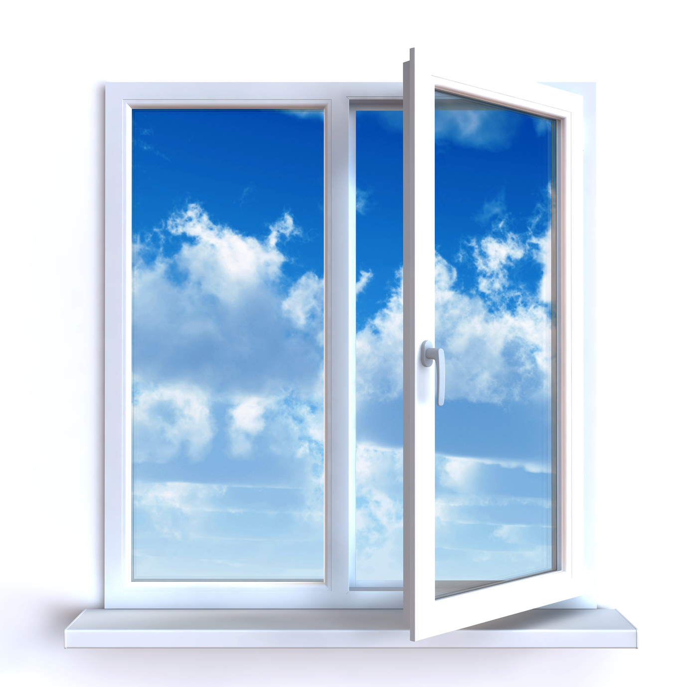 Open window and the cloudy sky